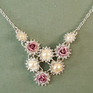Vintage Avon Purple Rose and Pearls Necklace